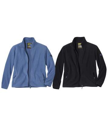 Pack of 2 Men's Microfleece Full Zip Jackets - Black Blue