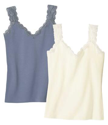 Pack of 2 Women's Lace Vest Tops - Blue Ecru