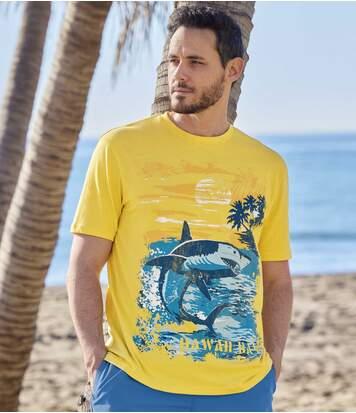 Men's Yellow Graphic Print T-Shirt