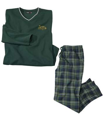 Men's Green Tartan-Style Pyjamas - Long-Sleeved