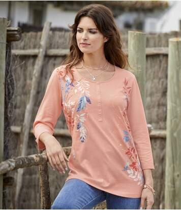 T-Shirt mit Henleykragen und Flower-Print
