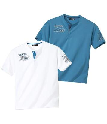 Pack of 2 Men's Yacht T-Shirts - White Blue