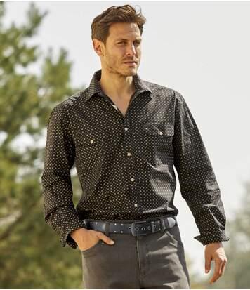 Men's Black Printed Poplin Shirt