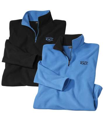 Pack of 2 Men's Embroidered Microfleece Pullovers - Black Blue