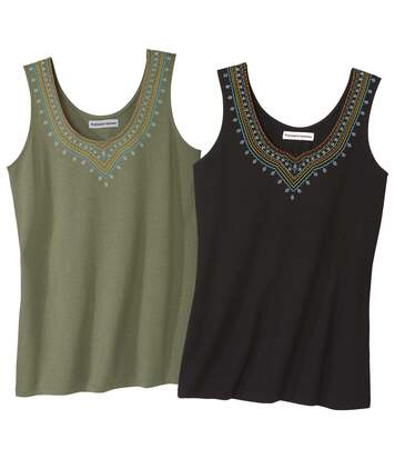 Pack of 2 Women's Vest Tops - Khaki Black
