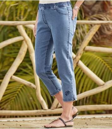 Tregginsy 7/8 z jeansu ze stretchem i haftami