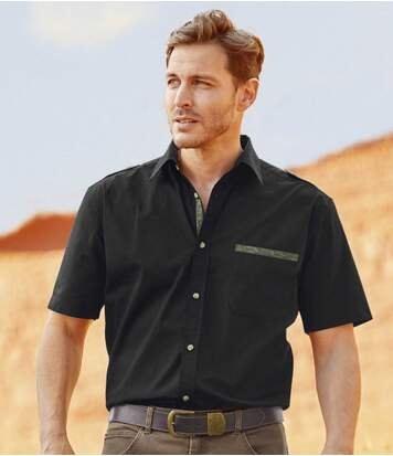 Men's Black Shirt with Camouflage Details