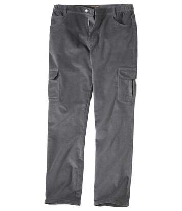 Men's Grey Battle Comfort Stretch Corduroy Trousers