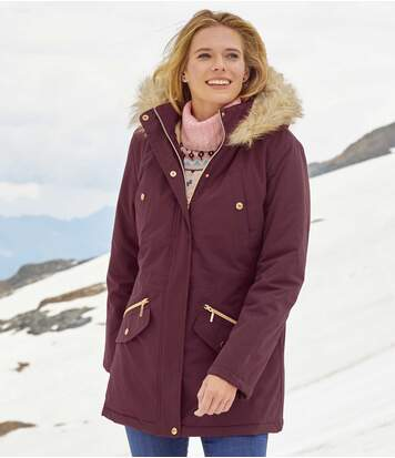 Women's Water-Repellent Plum Parka Coat - Faux-Fur Hood - Full Zip