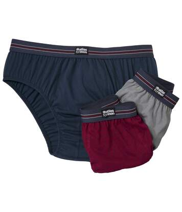 Pack of 3 Men's Comfort Briefs - Navy Grey Burgundy
