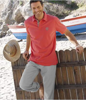 Men's Coral Polo Shirt - Short Sleeves