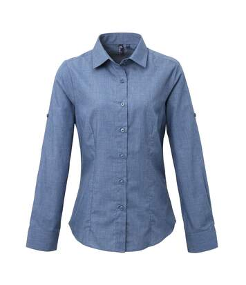 Premier Womens/Ladies Poplin Cross-Dye Roll Sleeve Long Sleeve Shirt (Indigo Denim) - UTRW5524