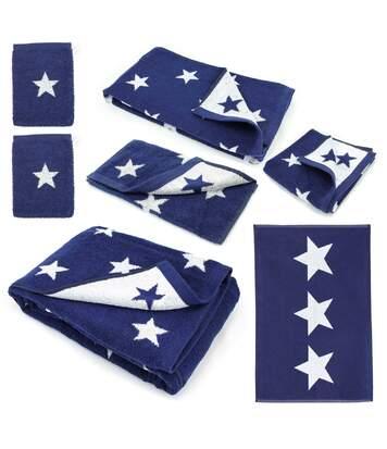 Parure de bain 7 pièces 100% coton 480 g/m2 STARS Bleu Marine