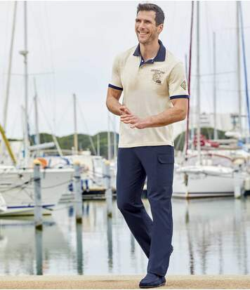 Pack of 2 Men's Casual Cargo Trousers - Navy Beige