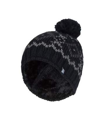 Mens Fleece Lined Thermal Beanie Hat with Pom Pom