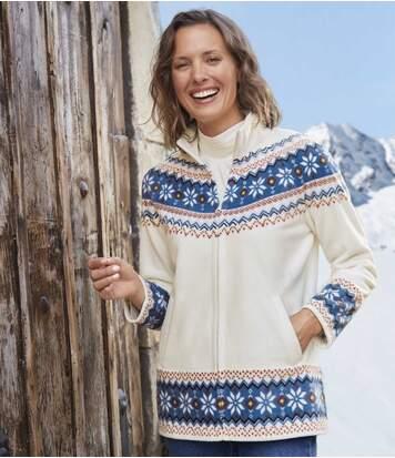 Women's Off-White Fleece Jacket - Jacquard Print