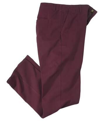 Men's Burgundy Autumn Stretch Chinos