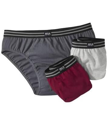 Pack of 3 Men's Comfort Briefs - Grey Red