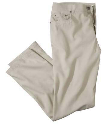 Men's Beige Cotton/Linen Trousers