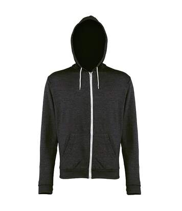 Awdis Mens Heather Lightweight Hooded Sweatshirt / Hoodie / Zoodie (Black Heather) - UTRW184
