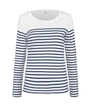 Marinière femme - t-shirt manches longues - K386 - blanc rayé marine