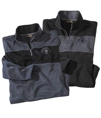 Pack of 2 Men's Jumpers with Zip-Up Collar - Grey Black