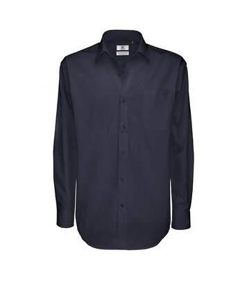 B&C Mens Sharp Twill Cotton Long Sleeve Shirt / Mens Shirts (Navy Blue) - UTBC113