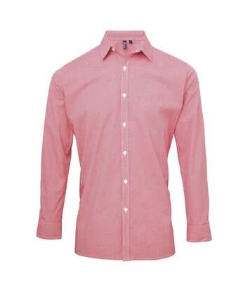 Chemise à carreaux manches longues - Homme - PR220 - rouge