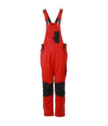 Pantalon de travail homme à bretelles - JN833 - rouge - salopette artisan