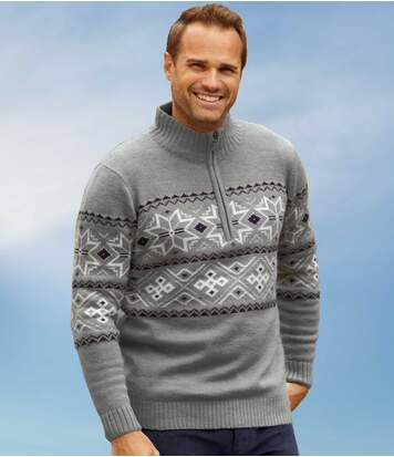 Men's Blue Nordic Knitted Jumper