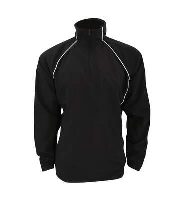 Finden & Hales Adults Unisex Team 1/4 Zip Sports Overtop (Black/White) - UTRW462