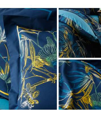 Parure de lit 260x240 cm 100% coton KIMONO bleu Paon 3 pièces avec impression fixé-lavé