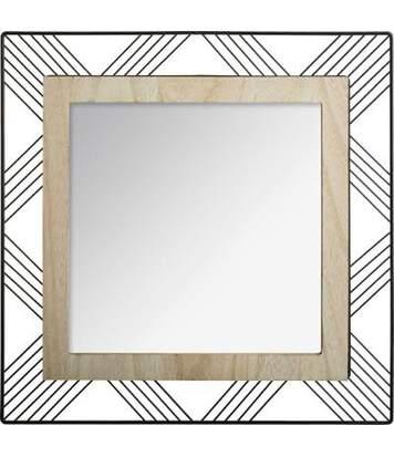 Miroir Carré en Métal & Bois Joe 45cm Noir