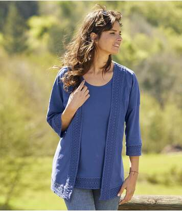 Women's Blue T-Shirt and Cardigan Set with Macramé Details