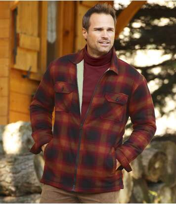 Men's Full Zip Red Flannel Overshirt with Sherpa Lining