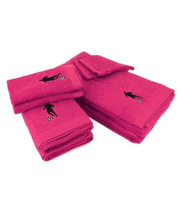 Parure de bain 8 pièces 100% coton 550 g/m2 PURE FOOTBALL Rose Fuchsia