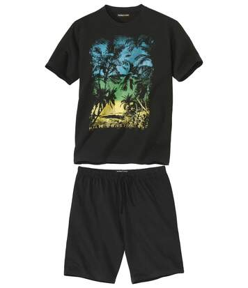 Men's Graphic Print Pyjama Short Set - Black