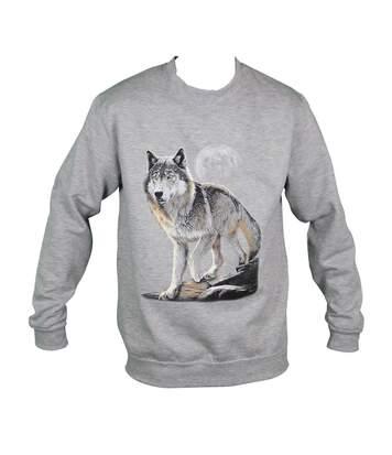 Sweat-shirt motif loup - 10380 - homme - gris chiné