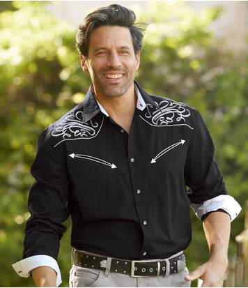 Men's Black Cowboy-Style Shirt