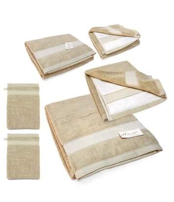 Parure de bain 6 pièces FICUS Vert 500 g/m2 pur coton bio