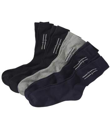 Pack of 5 Men's Jacquard Weave Socks - Grey Blue Black