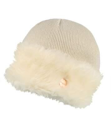 Regatta Womens/Ladies Luz Faux Fur Trim Cotton Jersey Winter Beanie Hat (Light Vanilla) - UTRG3845