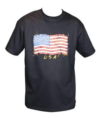 T-shirt homme manches courtes - drapeau USA 9941 - noir