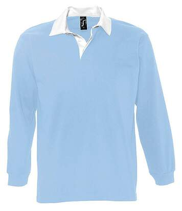 Polo rugby manches longues HOMME - 11313 - bleu ciel