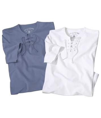 Pack of 2 Men's Pacific Lace-Up T-Shirts - White Blue
