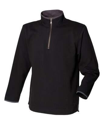 Front Row Mens Soft Touch 1/4 Zip Sweatshirt Top (Black) - UTRW489