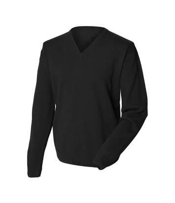 Henbury Mens Lambswool Woolmark® V-Neck Jumper / Sweatshirt (Black) - UTRW665