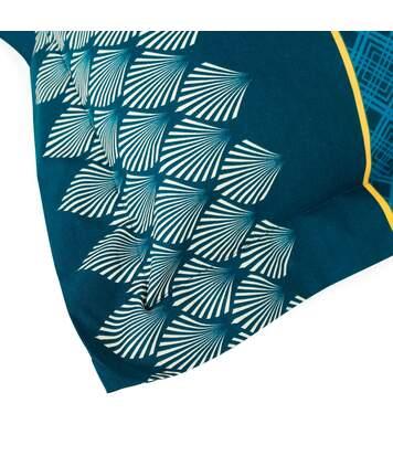Parure de lit 240x220 cm 100% coton TALISMAN bleu Paon 3 pièces