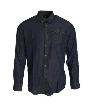 Premier Mens Jeans Stitch Long Sleeve Denim Shirt (Black Denim) - UTRW5593