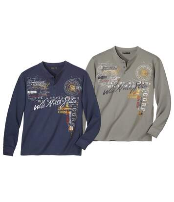 Pack of 2 Men's Long-Sleeved Tops - Taupe Navy